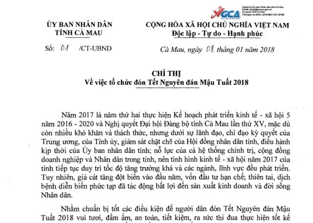 Chỉ thị của UBND tỉnh Cà Mau về việc tổ chức đón Tết Nguyên đán Mậu Tuất 2018