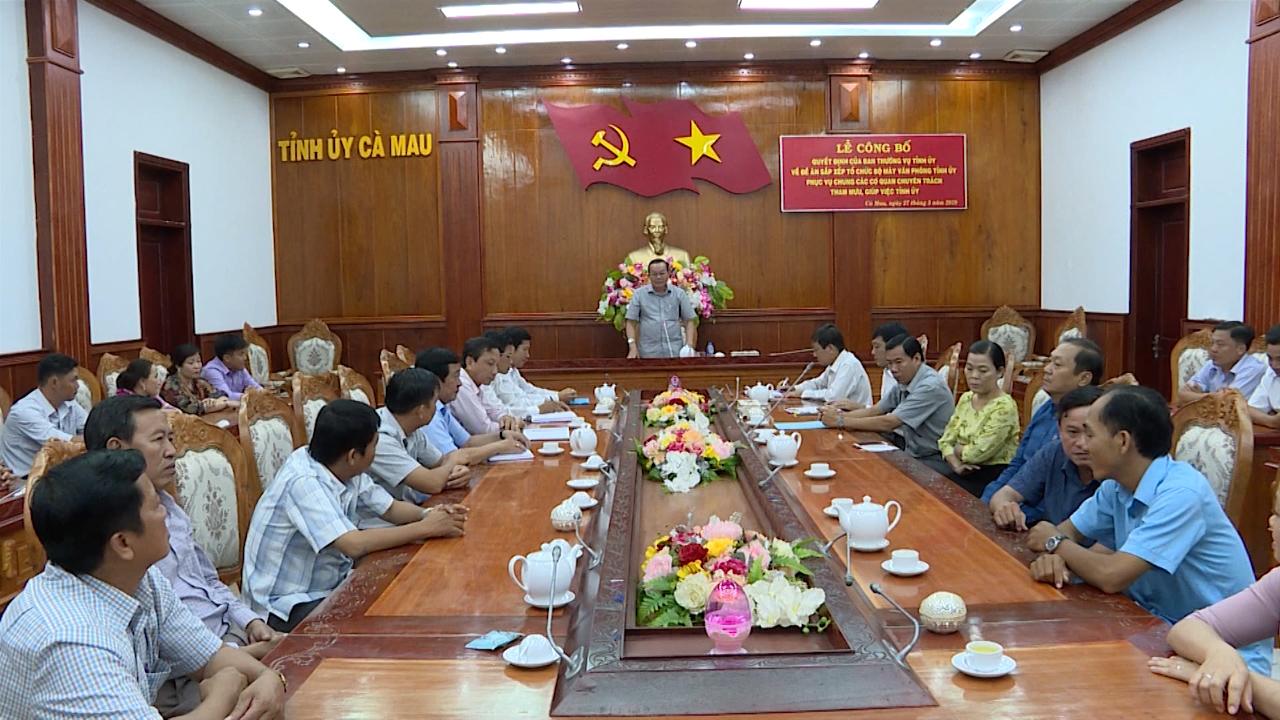 Lễ công bố Đề án sắp xếp tổ chức bộ máy Văn phòng Tỉnh ủy