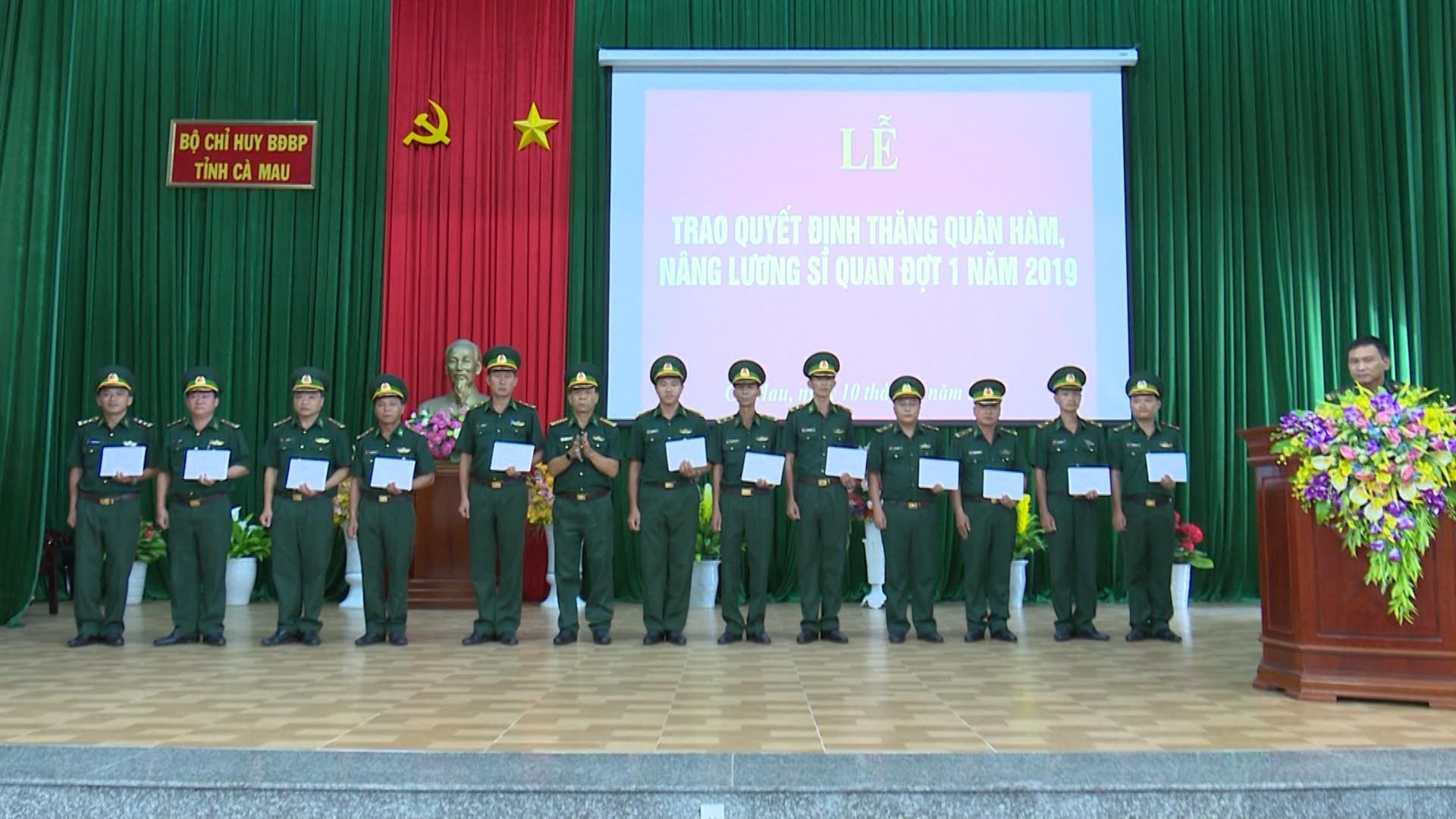 Bộ đội Biên phòng Cà Mau trao quyết định thăng quân hàm